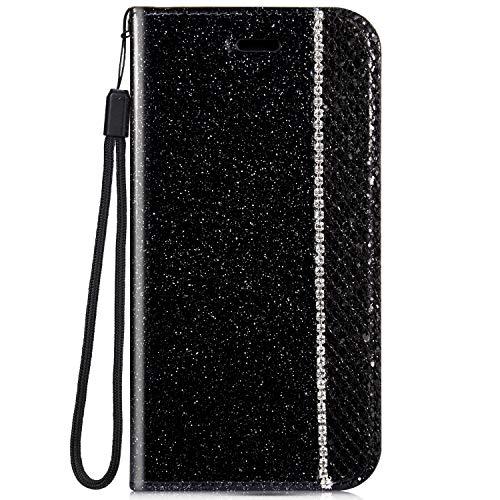 Ukayfe Custodia Compatibile con Samsung Galaxy S8, Flip Custodia Libro Pelle PU Bling Glitter Diamante Brillante Cristallo Strass Antiurto Bumper Magnetico Flip Cover Protettiva-Nero