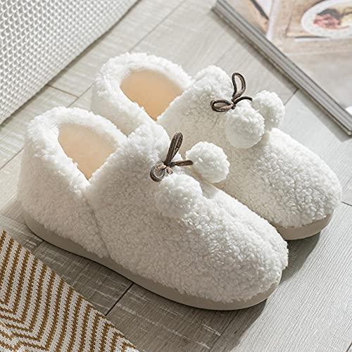 QPPQ Cómodas Pantuflas de algodón con Forro,Cómodas Zapatillas de casa, cálidas Zapatillas de algodón para Hombres y Mujeres.-Blanco_40-41,Pantuflas de algodón para Hombres y Mujeres