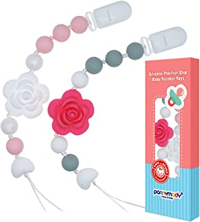 Panny & Mody Pacifier Clip Silicone Rose Flower Teethers BPA Free Binky Holder..