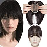 SEGO Hair Topper Donna Toupet Clip Extension Capelli Veri con Frangia 100% Remy Human Hair Protesi Silk Lace 6cm x 9cm Toupee 25cm 20g #1B Nero Naturale