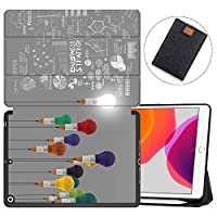 """MAITTAO New iPad 7th Generation 10.2"""" Case 2019 with Apple Pencil Holder, Shockproof Soft TPU Back Cover with Auto Sleep/Wake, Trifold Stand Smart Case Fit iPad 10.2 inch,Creative Bulb 9"""