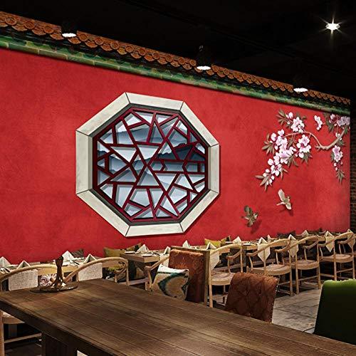 HUATULAI Muurschildering 3D Behang Chinese Stijl Chinese Architectuur Rode Muur Papier Oude Beijing Restaurant Achtergrond Behang 350 * 245cm/B*h