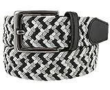 Belts.com Braided Elastic Stretch Belt Casual Weave Canvas Fabric Woven Belt 1-3/8' (GRY/WHT/BLK, M )