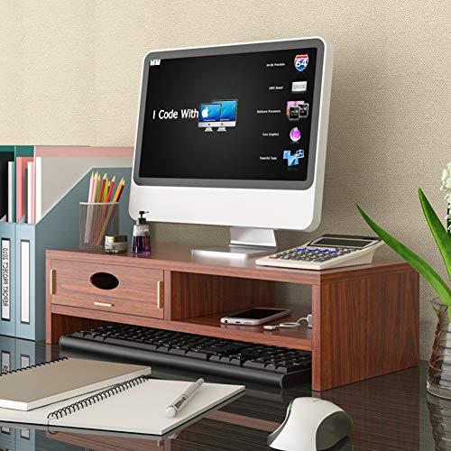TopJiä Holz Computer Monitorständer,ergonomisch Pc Tv Drucker Monitorerhöhung,Schreibtisch Stauraum Organizer Teakholz 2 Stufe(1 Schubladen)