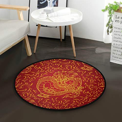 Mnsruu Teppich, chinesischer asiatischer Drache, rund, für Wohnzimmer, Schlafzimmer, 92 cm Durchmesser