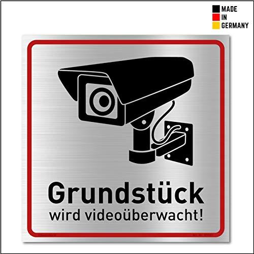 Achtung Videoüberwachung Schild (20x20 cm Alu) - Gebürstets Aluminium - Warnschilder und Hinweisschilder - Videoüberwacht Schilder (Metall)