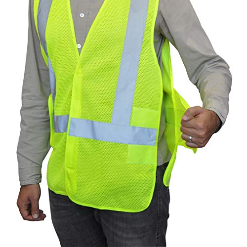NYOrtho Mesh Safety Vest Reflective - Security High-Visibility Jacket - ANSI/ISEA Class 2 Compliant | Lightweight, Does Not Sweat | Strong Hook and Loop Closure – Won't Rip Open in Wind
