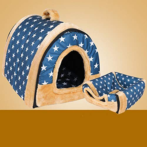 jiwenhua Artículos de Mascota, guarniciones de Mascotas, Camas de Mascotas, Gatos, guarniciones de Mascotas, Albino Azul, M: 45 * 38 * 36 cm