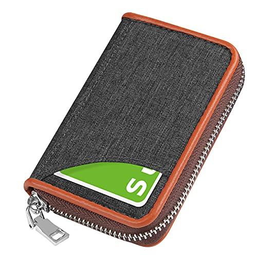 クレジットカードケース カード入れ キャンバス 小銭入れ スキミング防止 磁気防止 じゃばら 大容量 コインケース メンズ レディース (Gray)