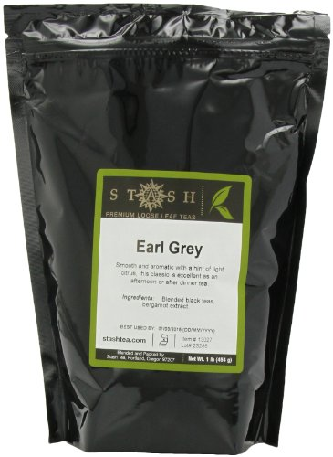 Stash Tea Earl Grey Loose Leaf Tea 16 Ounce Pouch Loose Leaf Premium Black Tea for Use with Tea Infusers Tea Strainers or Teapots, Drink Hot or Iced, Sweetened or Plain