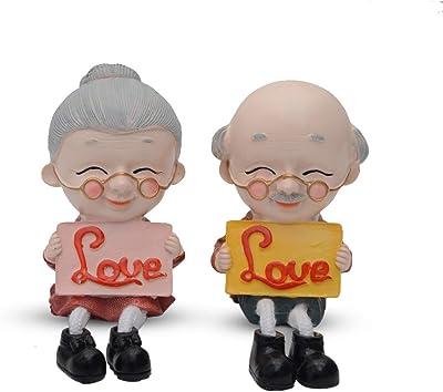 Store2508® Latku Romantic Love Old Couple Polyresin Hanging Legs Showpiece (Pair)