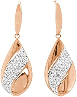 Bevilles Rose Stainless Steel Pave Crystal Teardrop Earrings Drop