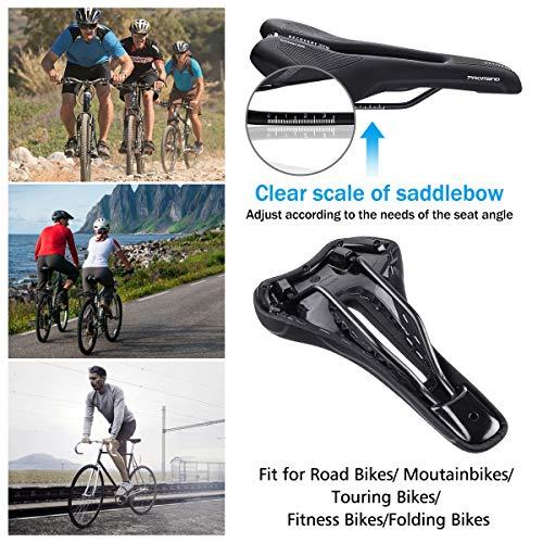 OUTERDO Fahrradsattel, Memoryschaum Fahrrad Sattel,Hohler und Ergonomischer Rennradsattel,Bequemer Wasserdichter und Atmungsaktiver MTB Rennrad Sattel Herren Damen Schwarz - 5