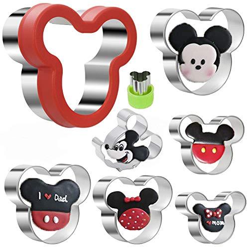Kaishane Micky Maus Ausstechformen-Set, Edelstahl, Sandwich-Ausstechformen-Set, Mickey Maus, Keks-Ausstecher-Set, für Kinder