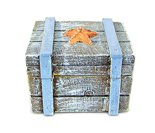 Puzzled Wooden Treasure Chest with Orange Starfish Jewelry Box, 3.5 Inch Intricate & Meticulous Detailing Art Handcrafted Trinket Accessory Storage Tabletop Accent Nautical Beach Themed Home Décor