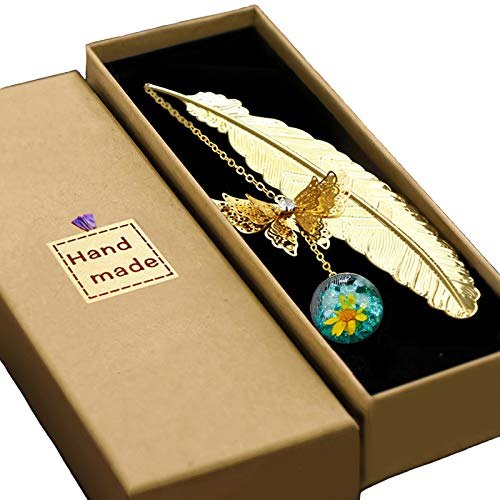 Konrisa Gold Feather Bookmark Metal Bookmarks with Beautiful 3D Butterfly...