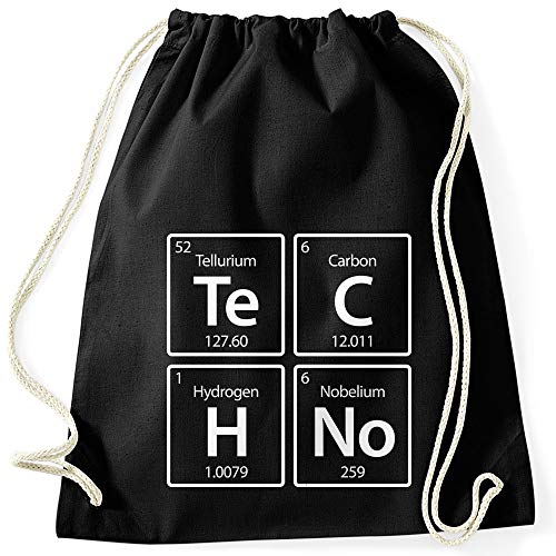 MoonWorks® Turnbeutel Techno Te C H No Periodensystem chemische Elemente Stoffbeutel Gymbag feiern Party Rave schwarz Unisize