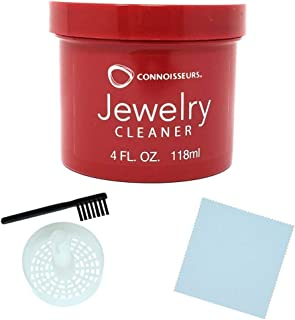 CONNOISSEURS Jewelry Cleaner, for Diamond, Gold, Platinum & Precious Stones Bonus Basket and Brush (4 Fl.Oz Jewelry Cleaner)