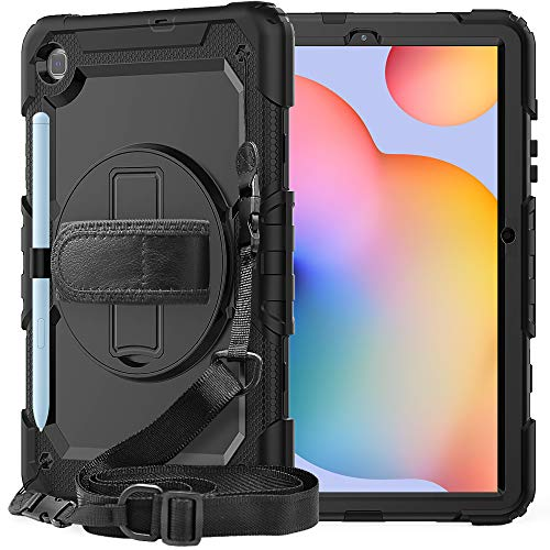 Galaxy Tab S6 Lite Case 10.4'' with Screen Protector | SIBEITU SM-P610/P615 Case 2020 with Pen Holder | Hard Durable Rugged Protective Cover w/Handle Shoulder Strap for Kids | Black