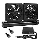 Petzilla Aquarium Chiller, Fish Tank Cooling Fan System for Salt Fresh Water, Only Fit for Aquarium Lip Width Less Than 1/2 Inch (2-Fan)