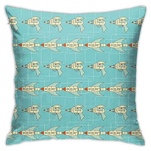 Throw Pillow Cover Retro Spaceships Ray Guns Soft Throw Pillow Couch Pillowcase Square 18X18 Inch