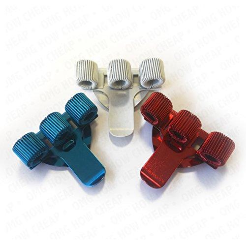 Dreifach-Stifthalter mit Taschen-Clip, Metall –Ideal für Ärzte / Krankenschwestern / Piloten–[3Stück]–Rot, Weiß und Blau
