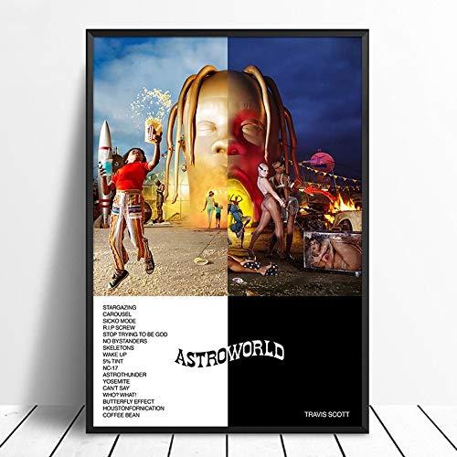 Modern Canvas Schilderij Travis Scott – Astroworld Album Pop Music cover Music Star Poster Canvas Prints Wall Art For…