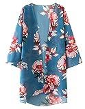 Zexxxy Cubre para Mujer Robe Blusa Boho Floral Kimono Cardigan Capes Loose Azul M