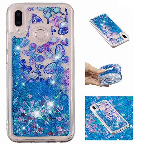 Fanxwu Crystal Clear Glitter Vloeistof Quicksand Case Glanzend Bling Mode TPU Siliconen Bumper Case, Bumper Hoes, Blue Butterflies, Huawei P20 Lite