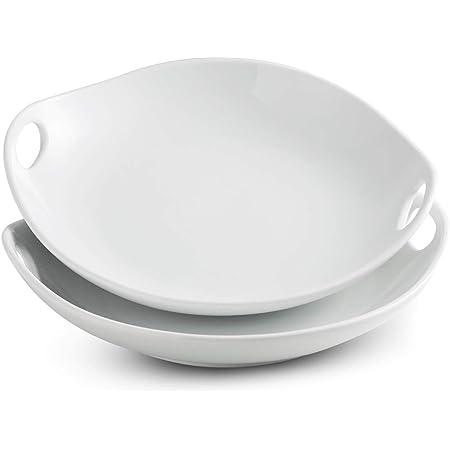 LAUCHUH Porcelain Serving Platter with Handles Pasta Bowl Serving Bowl Set for Noodles 11.93-inch Porcelain Platter Set Large Dinner Plate for Meat, Salad Set of 2 White