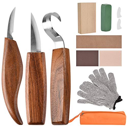 Wood Carving Tools, 13 in 1 Wood Carving Kit with Carving Hook Knife, Wood Whittling Knife, Chip Carving Knife, Gloves, Carving Knife Sharpener for Spoon, Bowl, Kuksa Cup, Beginners Woodworking