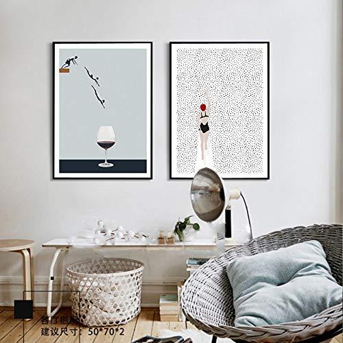 Cartel nórdico abstracto Nadar Copa de vino Lienzo Pintura Arte de la pared Imágenes para la sala de estar Prins modernos Decoración para el hogar mural -40x60cm 2pcs Sin marco