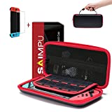 Nintendo Switch Case - Carrying Case Portable Hard Shell Slim Travel and Tempered Glass Screen Protector for Nintendo Switch (Black)