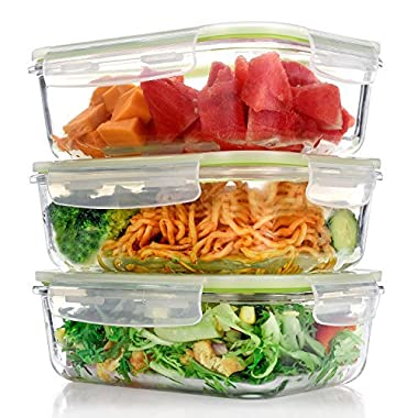 ME.FAN Glass Meal Prep Food Storage Containers [3 Pack] 1-Compartment Container Set with Snap Locking Lids, BPA-Free, Airtight, Leakproof, Microwave, Oven, Freezer & Dishwasher Safe (36oz/4.2Cups)