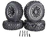 MASSFX SL 25x8-12 25x10-12 ATV Tires with Black QUAKE 12x7 4/156 Rims UTV Wheel and Tire Kit with Lug Nuts
