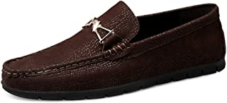 Aomoto Men's Fashion Driving Loafers Casual Exquisite Metal Decoration Convenient Slip On Boat Moccasins