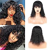 Huarisi Water Wave Hair Wig with Fringe 8a Brazilian Virgin Hair Short Hair Wigs with Bang 10 Inches Machine Made Natural Colour for Women