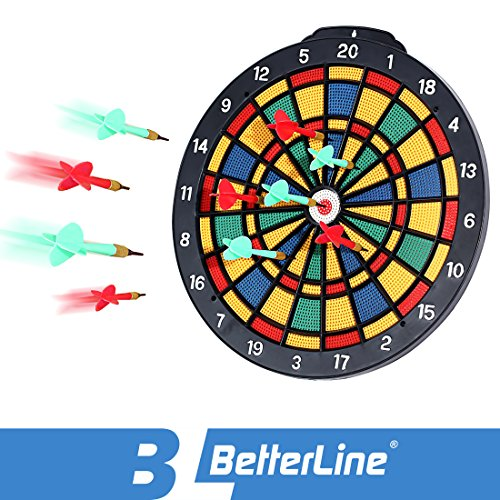 BETTERLINE Safety Dart Board Set with 6 Safe Soft Plastic Tip Darts - 13.8 Inches (35 cm) Diameter Dartboard - Great for Kids, Adults, Office & Game Room
