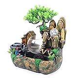 Fuente de mesa, fuente de interior, fuente de polirresina, con iluminación LED, cascada, escritorio, fuente con jardín de piedra, decoración para salón, dormitorio, oficina, café