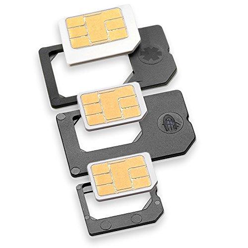 Nano Sim und Micro Sim Adapter KOMPLETT-SET (3er-SET) - PREMIUM QUALITÄT - MADE IN GERMANY - zur Verwendung von NanoSIM und MicroSIM Karten als Micro Sim oder normale Sim Karte für alle Handys im Charmate® Druckverschlussbeutel