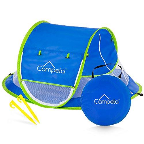 Campela Strandmuschel, Extra Light Automatisches Strandzelt mit Reißverschlusstür und UV-Schutz, Baby Portable Beach Zelt in Blau, Outdoor Tragbar Wurfzelt CA0100