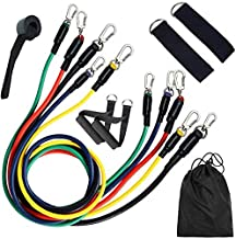 Decdeal Resistance Bands Set (11pcs) Exercise Bands with Door Anchor Handles Ankle Strap and Carrying Bag Legs Ankle Strap...