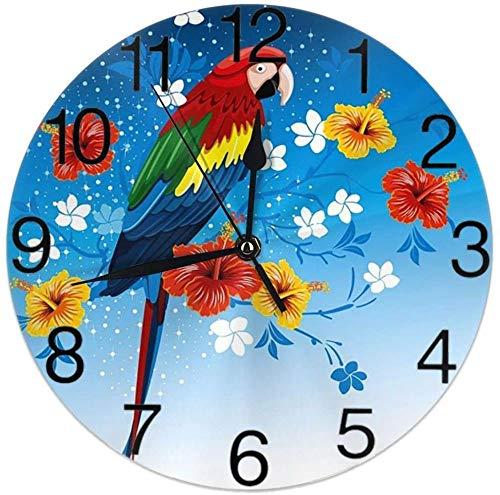 AZHOULIULIU Co.,ltd Reloj Silencioso Redondo Loros Brillantes con Flores Tropicales