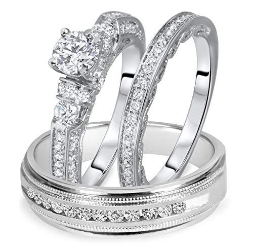 Ani's Juego de anillos de boda de 1 1/2 quilates T.W. de corte redondo con circonita cúbica transparente, chapado en oro blanco de 14 quilates, plata 925
