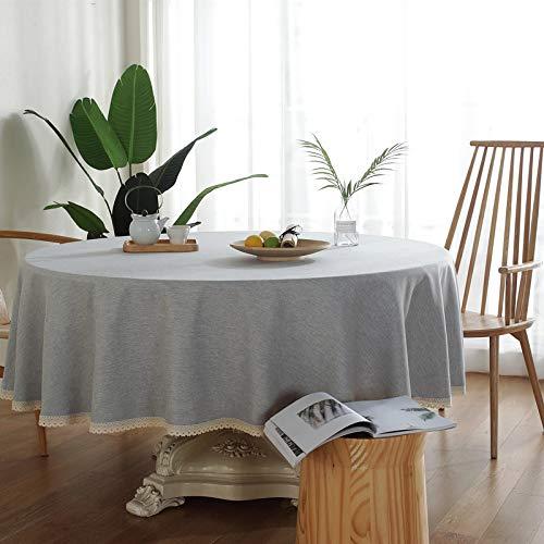 NHhuai Mesa de Comedor Lavable Cubierta de Lino de Tela con Encaje de Color Liso