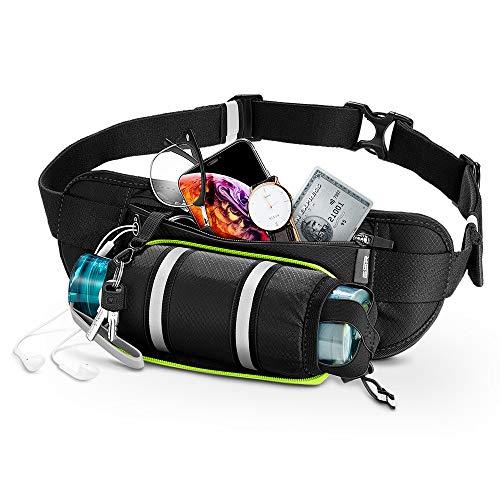 ESR ランニング用ボトルポーチ、ボトルホルダー&調節ストラップ付きランニングベルト、大きなポケットのウエストバッグ、最大6.5インチまでのスマホが収納可能、男女兼用ランニングポーチ、ブラック