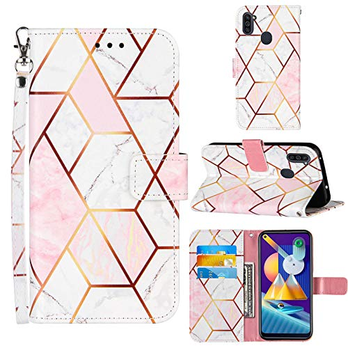A11 Phone Case Wallet,for Galaxy A11 Case,[Stand Feature][Wrist Strap][Credit Cards Holder] 2021 Marble Pattern Premium PU Leather Flip Protective Cover for Samsung A11 Case (Pink/White)