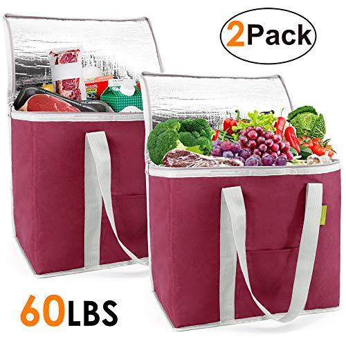 Cooler Bags for Shopping Xlarge Insulated Tote Grocery Bags for Cold Warm Food Delivery Heavy Duty Stands Upright Thermal Collapsible Bag with Zipper Durable 2 Pack