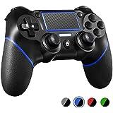 PS4コントローラー W&O DualShock 4 プレイステーション4 / Pro/Slim/PCおよびモーションモーターとオーディオ機能、ミニLEDインジケーター、USBケーブル、滑り止め付きラップトップ用ワイヤレスゲームパッド (青)