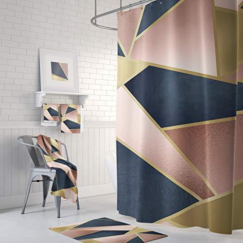 Zachrtroo Geometrischer Duschvorhang erröten rosa Rosen-Goldmarine-Blau-abstraktes Muster